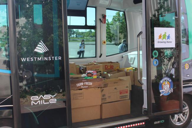 EasyMile's EZ10 driverless shuttle food delivery